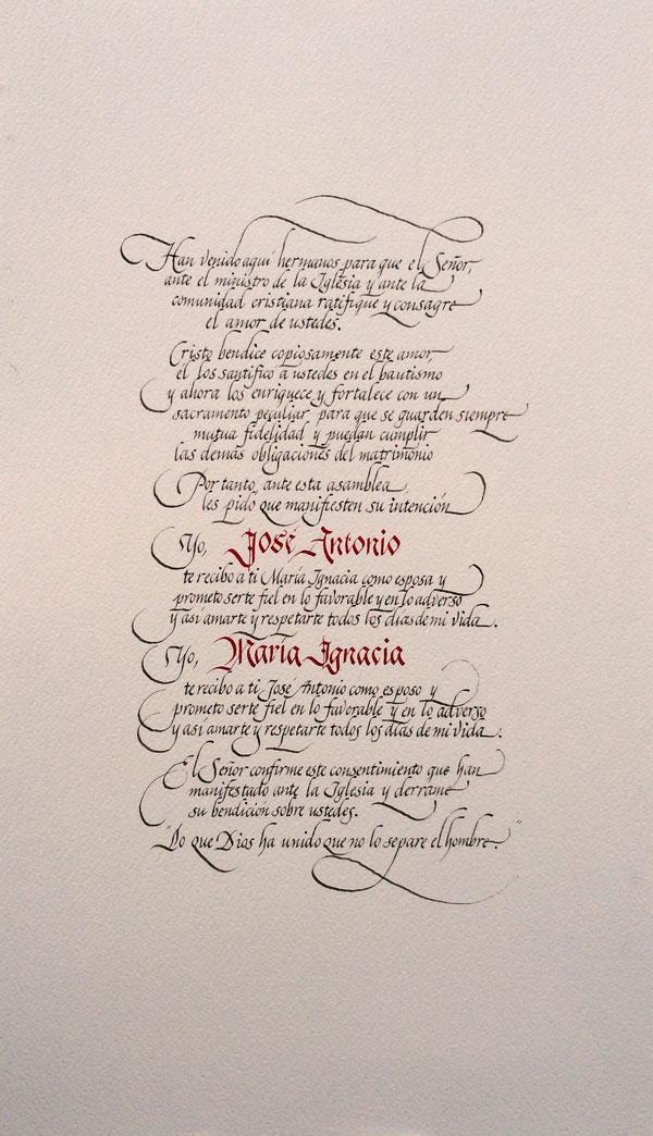 Consentimiento Matrimonial Catolico Formula : Matrimonio caligrafía humberto olea montero